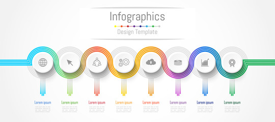 Infographic design elements for your business data with 8 options, parts, steps, timelines or processes. connection lines concept,  Vector Illustration. Wall mural