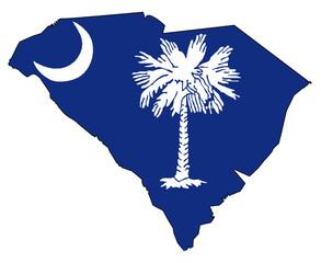 South Carolina Outline Map and Flag