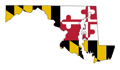 Maryland Outline Map and Flag