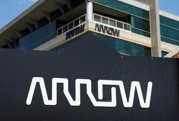 The sign with Arrow logo outside of Arrow Electronics headquarters in Centennial