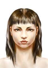 Portret młodej kobiety - cyfrowa akwarela