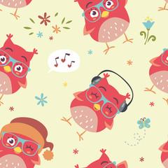 vector cartoon style blue owl seamless pattern