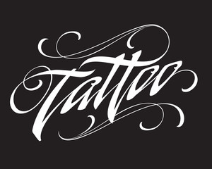 Tattoo calligraphic lettering on black background