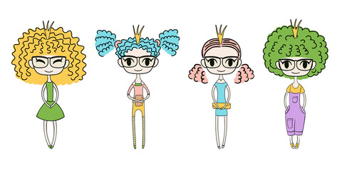 Hand drawn vector illustration of four kawaii trendy girls with curly hair, in cute dresses, t-shirt, leggings, shorts, and denim overalls