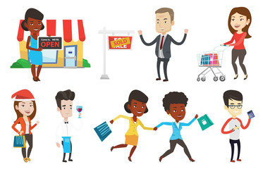 Shop owner holding an open signboard. Cheerful shop owner standing in front of small store. Woman inviting to come in her shop. Set of vector flat design illustrations isolated on white background.