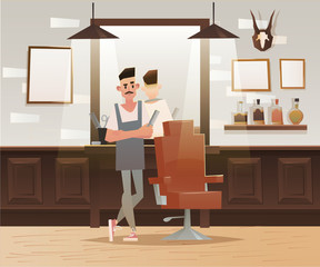 Cartoon hipster barber character. Barber shop, lounge chair, man. Vector illustration