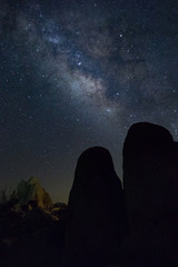 Milky Way Boulders Silhouette and Lit