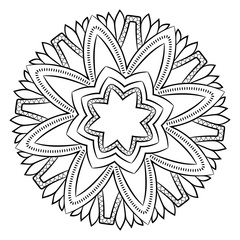 Contour mandala for color book. Monochrome image. Symmetrical pattern in a circle. Beautiful illustration for scrapbook. The template for printing. Picture for relaxation.