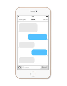 Smartphone, chatting sms app template bubbles.  Vector Illustration