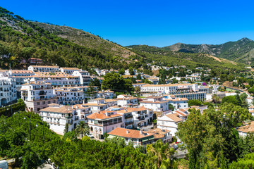 Mijas, Spain, June 28 2017: View on the White town of Fijas in the south of Spain