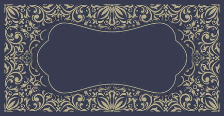 Template vintage frame for card, invitation, thank you message, badge.