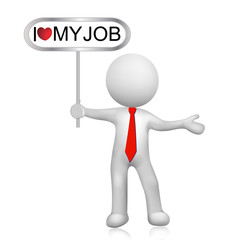 3D white people man holding I love my job sign. image logo