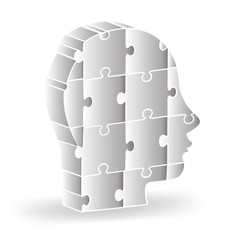 Vector 3d illustration of human head colored puzzle logo design