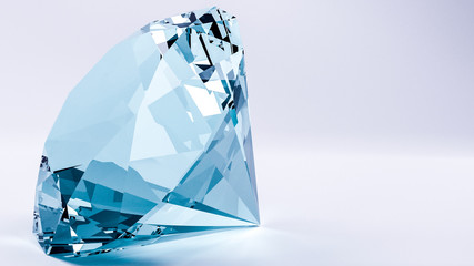 3d render of blue diamond with white background