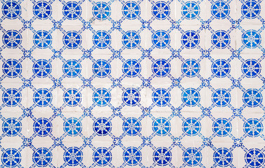 Beautiful decorative traditional ceramic tiles pattern from Portugal. Abstract background texture.