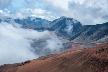 Clouds fill the crater atop Haleakala National Park