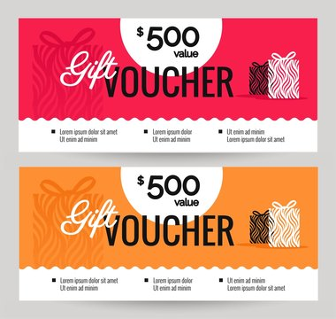 Gift Voucher Coupon discount. Gift certificate template with gift boxes. Shopping concept.  Vector illustration