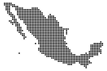 Оригинальная, абстрактная точечная карта Мексики из круглых точек. Векторная иллюстрация.