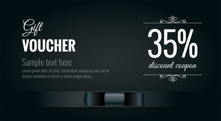 Elegant black and white gift voucher premium coupon with black ribbon. Design usable for gift coupon, voucher, invitation, certificate, diploma, ticket etc. Vector illustration
