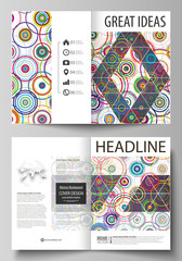 Business templates for bi fold brochure, magazine, flyer, report. Cover design template, abstract vector layout in A4 size. Bright color background in minimalist style made from colorful circles