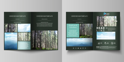 Templates for bi fold brochure, flyer, booklet or report. Cover design template, abstract vector layout in A4 size. Colorful background, travel business, natural landscape in polygonal style