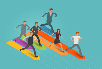 Startup, career, business concept. Businessman and group of business people running to the goal. Infographics vector illustration