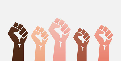 Raised colored fists set background - isolated vector illustration
