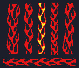 Red flame elements for the endless border