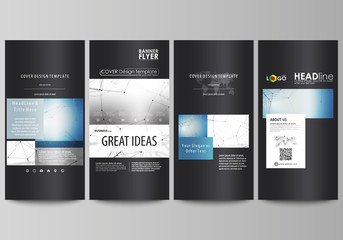 Flyers set, modern banners. Business templates. Cover design template, abstract vector layouts. Geometric blue color background, molecule structure, science concept. Connected lines and dots.