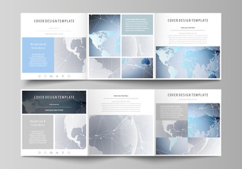The abstract minimalistic vector illustration of the editable layout. Two creative covers design templates for square brochure. Technology concept. Molecule structure, connecting background.