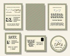 Set of Pop art Wedding Invitation Card. Sun glasses retro style.Vector/Illustration