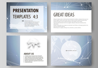 The minimalistic abstract vector illustration of the editable layout of the presentation slides design business templates. Polygonal texture. Global connections, futuristic geometric concept.