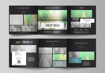 The black colored minimalistic vector illustration of the editable layout. Two creative covers design templates for square brochure. Rows of colored diagram with peaks of different height.