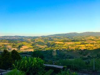 Italian green fields view in Tuscany