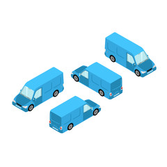Blue minibus in isometric style on white background, cargo transport
