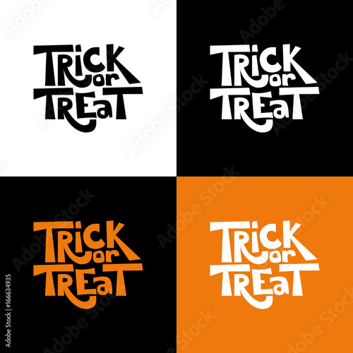 trick or treat isolated quote set vector holiday illustration hand