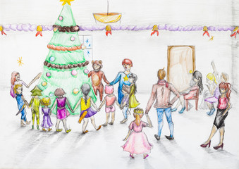 Round dance around Christmas tree in kindergarten