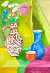 color still-life with ceramic jugs on table
