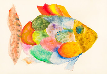hand painted fish with multicolored scales