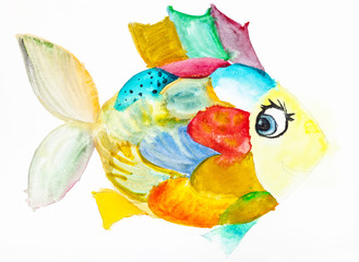 fanny fish with multicolored scales drawn