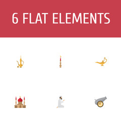 Flat Icons Genie, Artillery, Pitcher And Other Vector Elements. Set Of Holiday Flat Icons Symbols Also Includes Artillery, Minaret, Ordnance Objects.