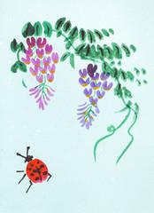 wisteria plant and ladybug