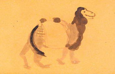 sketch of camel on yellow colored paper