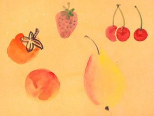 various fruits on yellow colored paper