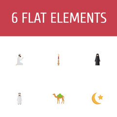 Flat Icons Muslim Woman, Praying Man, New Lunar And Other Vector Elements. Set Of Ramadan Flat Icons Symbols Also Includes Moon, Ramadan, Camel Objects.
