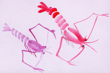 two pink shrimps on violet colored paper