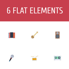 Flat Icons Audio Box, Banjo, Karaoke And Other Vector Elements. Set Of Audio Flat Icons Symbols Also Includes Harmonica, Cassette, Karaoke Objects.