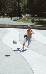 Boy with soccer ball in the park