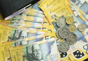 Australian fifty dollar notes currency shot from above