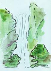 view of waterfall on blue colored paper
